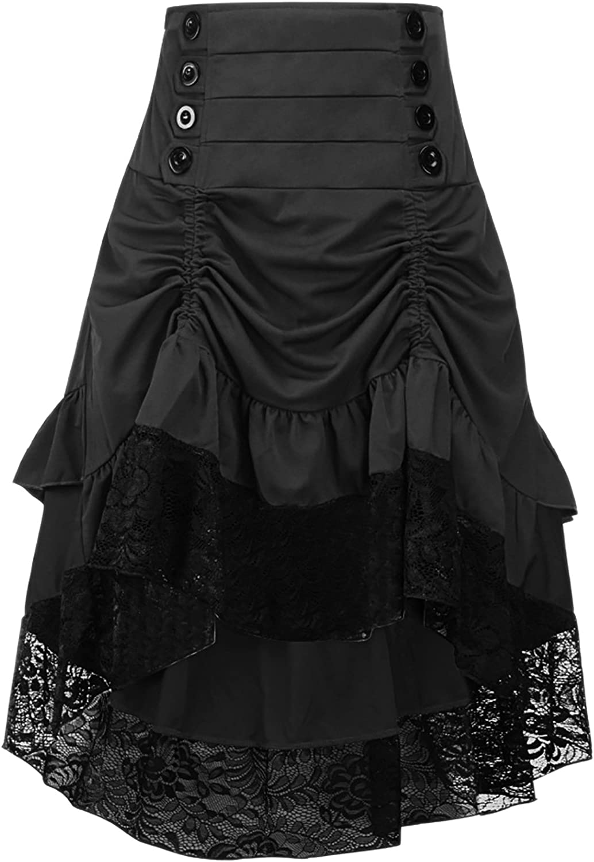 Alivila.Y Fashion Womens Gothic Steampunk Skirt Asymmetrical High Low Dress