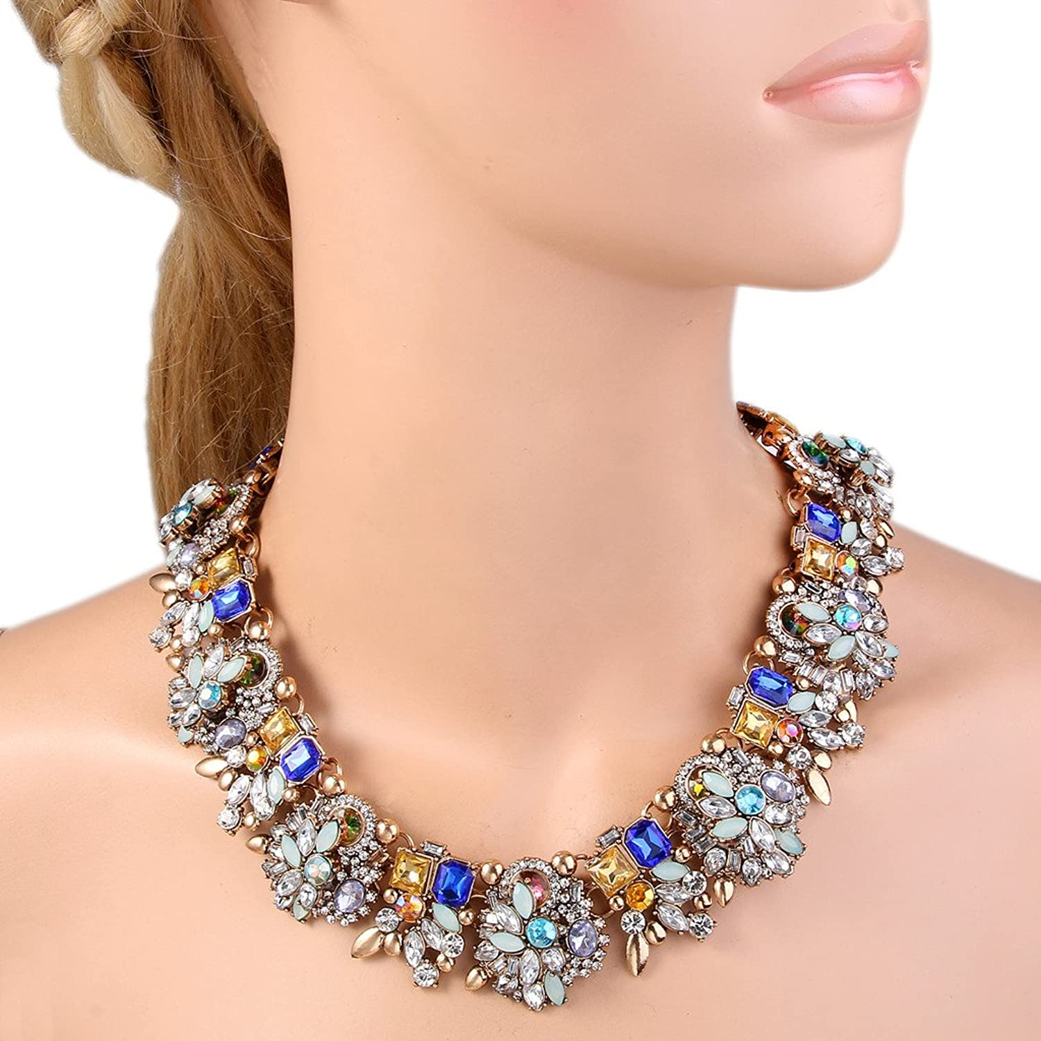 1940s Jewelry Styles and History  Art Deco Statement Necklace Austrian Crystal Gold-Tone $22.99 AT vintagedancer.com