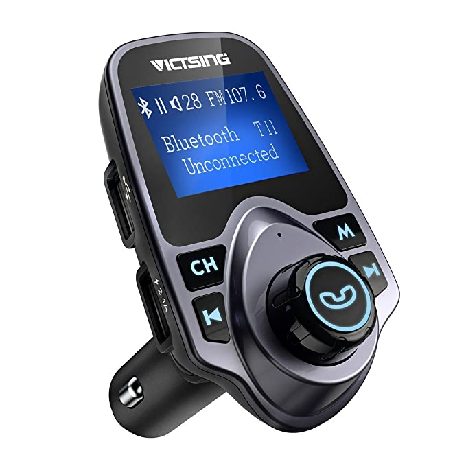 VicTsing Bluetooth FM Transmitter for Car, Wireless Bluetooth Radio Transmitter Adapter with Hand-Free Calling and 1.44â LCD Display, Music Player Support TF Card USB Flash Drive AUX Input/Output