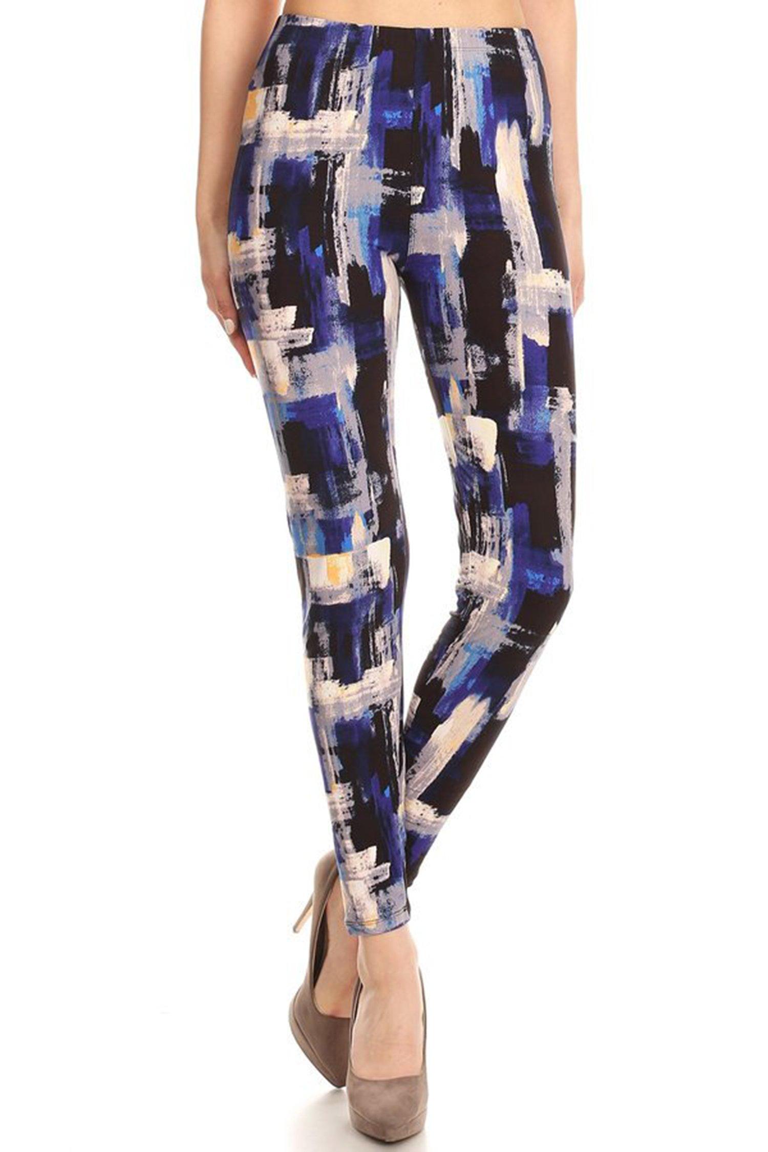 Leggings Mania Women's Plus Paint Brush Print High Waist Soft Leggings Blue