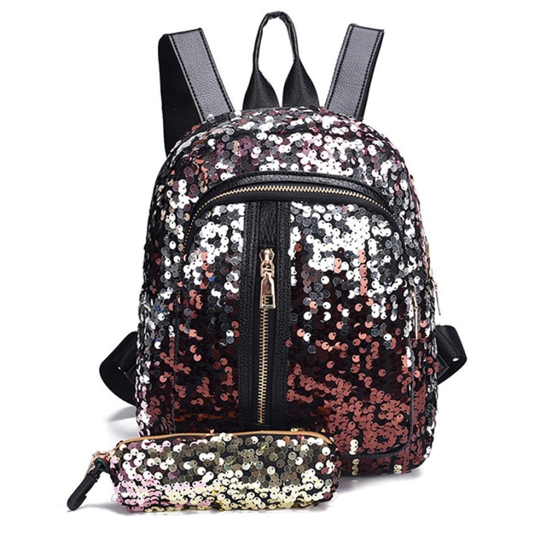 Vacally Girl Sequins School Travel Backpack 2 Pcs Shoulder Bag+Clutch Wallet (Blue)