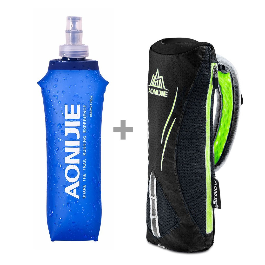 LX LERMX Handheld Water Bottle for Running Quick Grip Chill 17 oz Handheld Soft Water Bottle with Hand Strap Hydration Pack