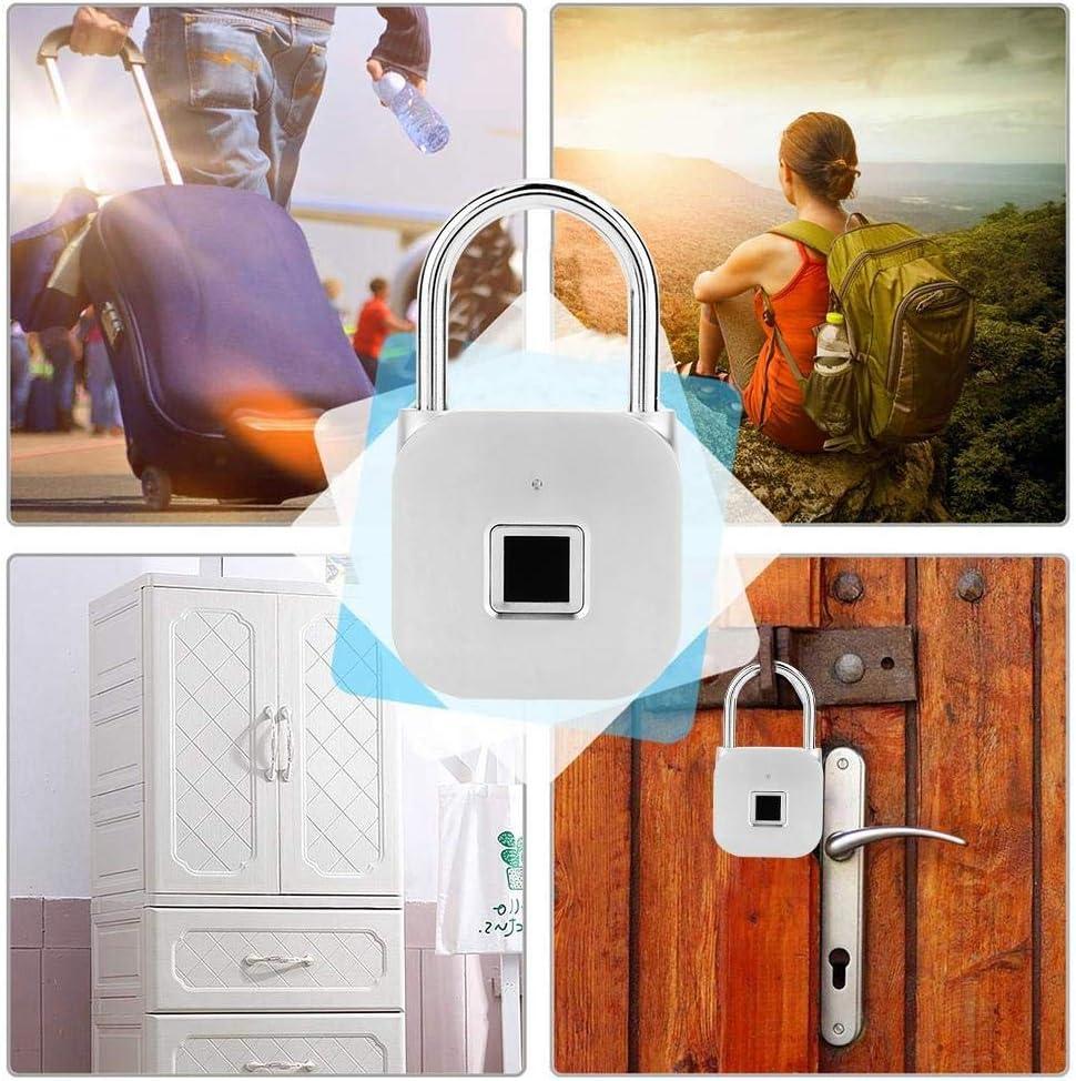 Le Cadenas imperm/éable dempreinte Digitale Serrure de Porte ext/érieure de Bagage de Sac /à Dos en Alliage de Zinc dargent de LED