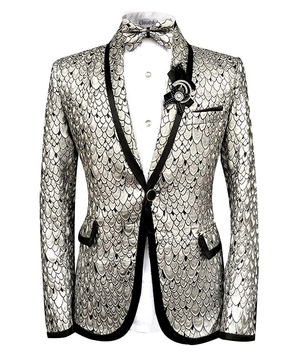 Allthemen Men Scale Prints Notched Lapel Center-Vent One-Button Blazer Suits Jackets /& Trousers Golden