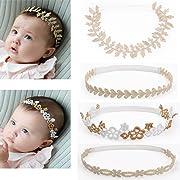 DANMY Baby Girl Rhinestone Crown Headbands Toddler Princess Headband Hair Accessories (Gold Band (4pcs))