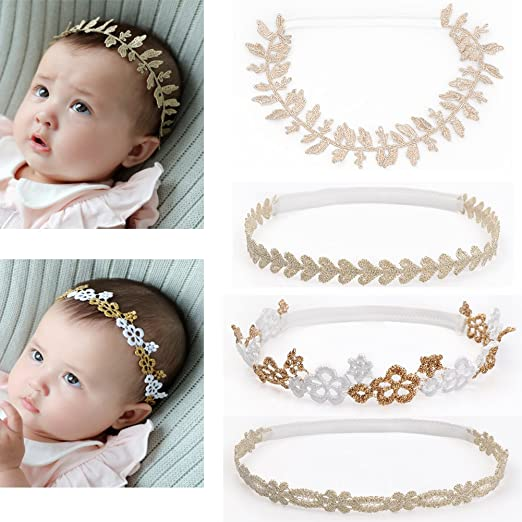 DANMY Baby Girl Rhinestone Crown Headbands Toddler Princess Headband Hair  Accessories (Gold Band (4pcs 811fe72ccdfc