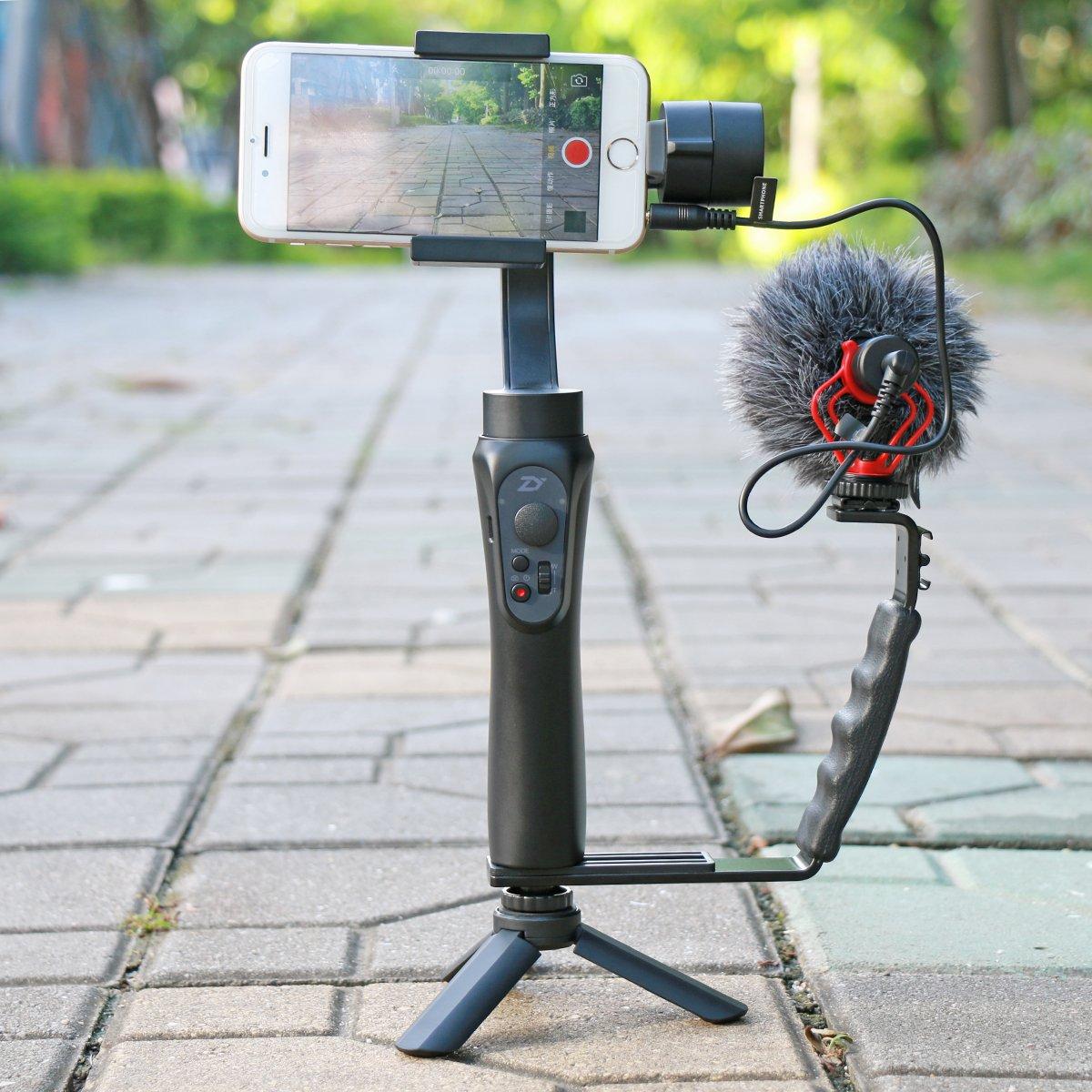 Ulanzi L Mic Stand Mini Tripod Set Heavy Duty Combo Boya By Mm1 Dan M1 Photography Bracket With 2 Standard Flash Hot Shoe Mounts For Dji Osmo Mobile