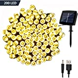 Solar Fairy String Lights Outdoor Waterproof, WOOHAHA 72ft 200LED Updated Version 6hrs Timer Function with USB Cable Solar Powered Starry String Lights for Christmas Patio Garden Party(warmwhite)