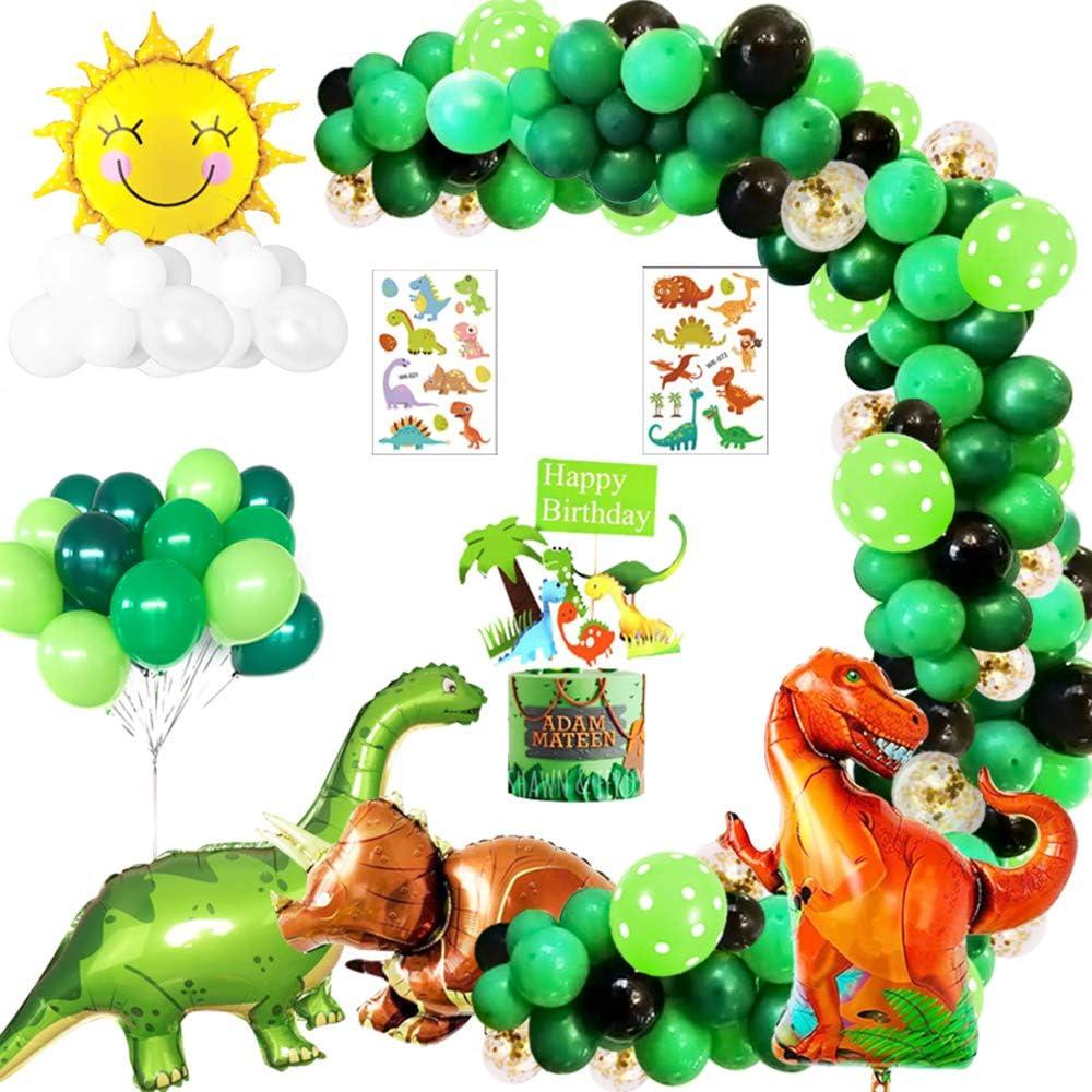 Jungle Dinosaur Globos Cumpleaños de Niños,Cumpleaños Decoraciones Torta de Dinosaurio Grande para Niño Cumpleaños Baby Shower Decoración