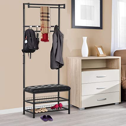 Amazon Festnight Entryway Storage Bench Coat Rack Adjustable 40 New Entryway Storage Bench With Coat Rack