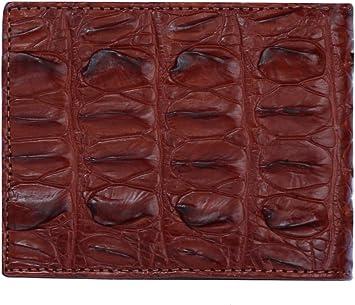 Genuine Real Crocodile Alligator Belly Skin Leather Man Bifold Wallet Brown New