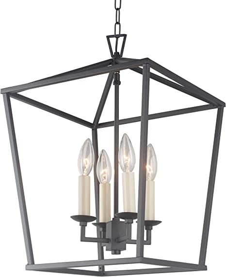 Cage Pendant Light Lantern Iron Art Design 4 Heads Candle Style Chandelier Ceiling Light Fixture For Hallway Kitchen Dinning Room Bar Restaurant W 12 6 X H 18 Black Amazon Com