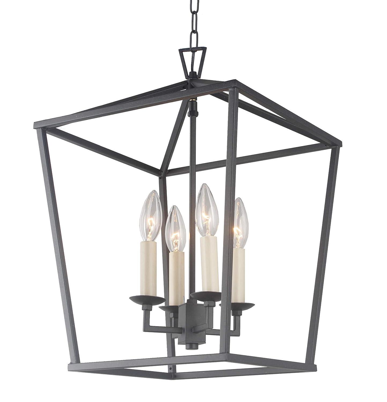 "Cage Pendant Light Lantern Iron Art Design 4-Heads Candle-Style Chandelier Ceiling Light Fixture for Hallway Kitchen Dinning Room Bar Restaurant (W 12.6"" X H 18"") (Black)"