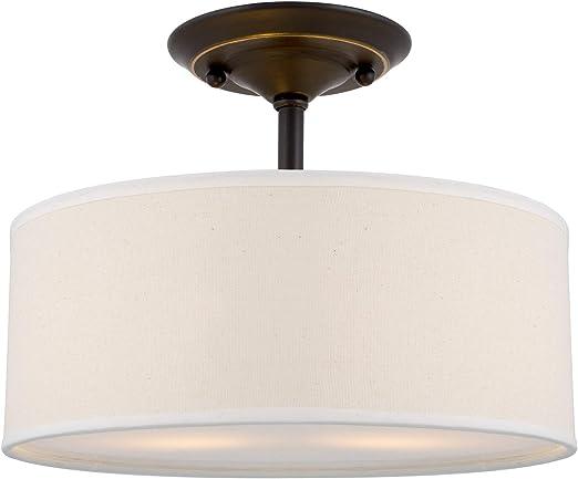 "Addison 13/"" 2-Light Semi-Flush Mount Ceiling Light Fixture w// Off-White Fabric D"