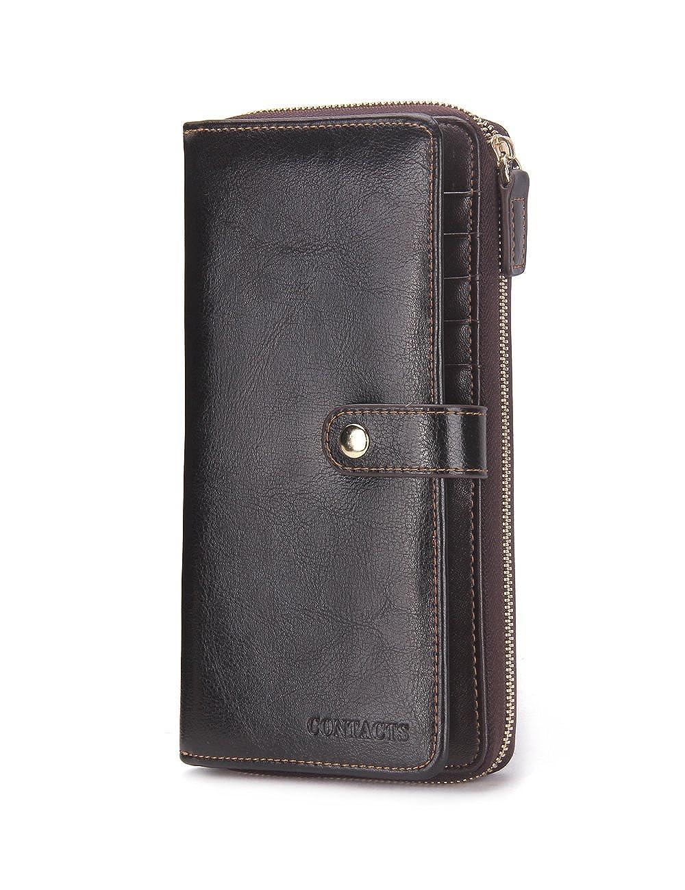 Contacts Echtes Leder Bifold Karte Münzen Geldbörse Telefon Clutch lange Reißverschluss Brieftasche dunklen Kaffee 10440751