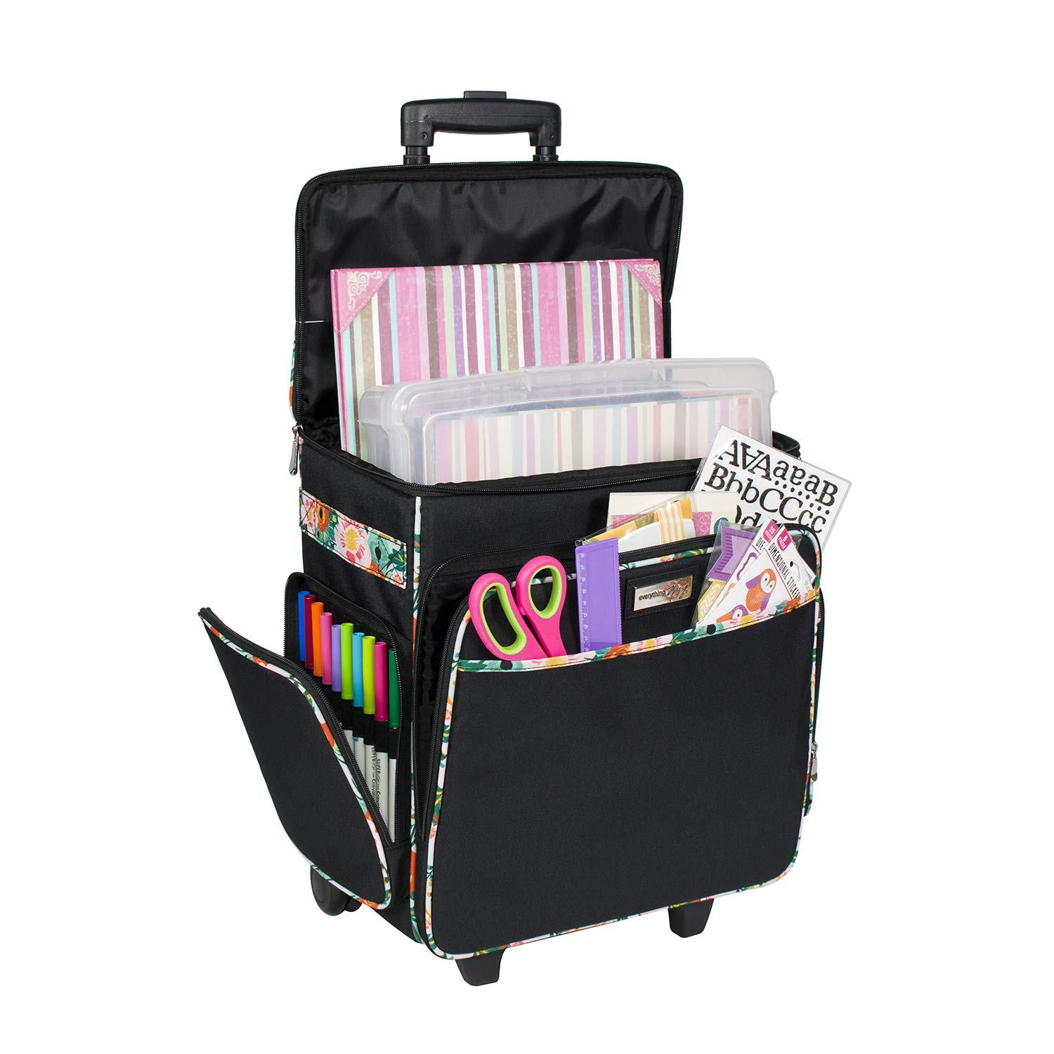Everything Mary Black & Floral Rolling Scrapbook Storage Tote - Scrapbooking Storage Case for Rings, Paper, Binder, Crafts, Beads, Paper, Scissors - Telescoping Handle with Dual Wheels - Craft Case