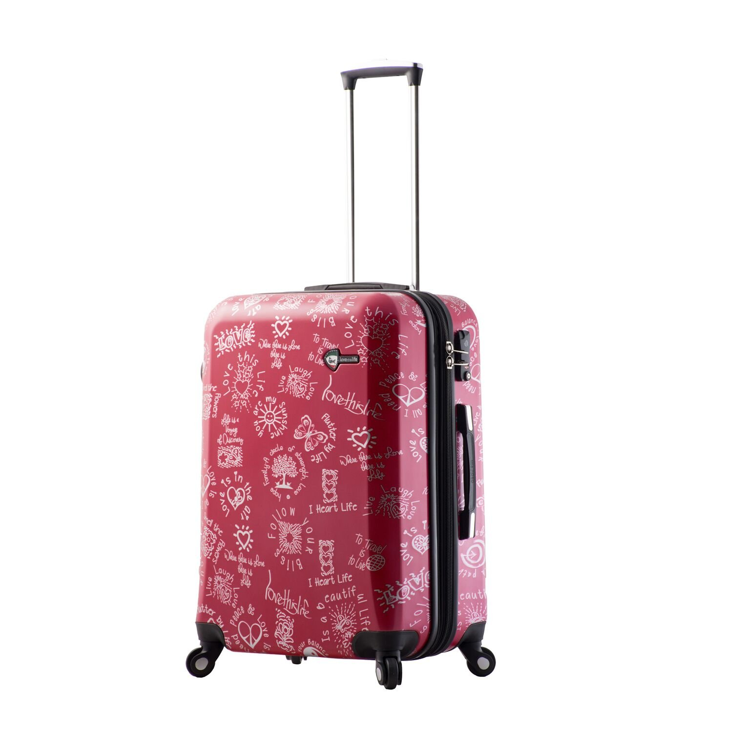 Mia Toro M1089-24in-Red Love This Life-Medallions Hardside 24 Inch Spinner, Red