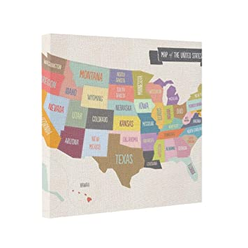 Worksheet. Amazoncom Gallery Wrapped Canvas Map of the USA XL Image
