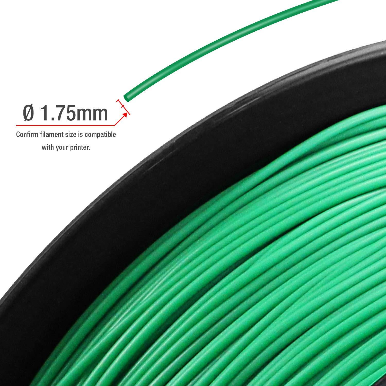 // TIANSE Green PLA 3D Printer Filament 1.75mm 1KG Spool Filament for 3D Printing 0.03 mm PLA-Green Dimensional Accuracy