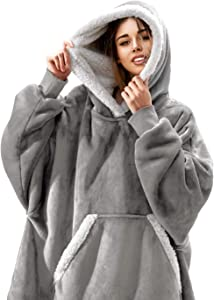 FEDERI The Original Oversized Sherpa Wearable Blanket Hoodie | Plush Fleece Blanket Sweatshirt with Pockets and Sleeves for Men and Women | One Size Fits All (32x44 inches) (Gray)