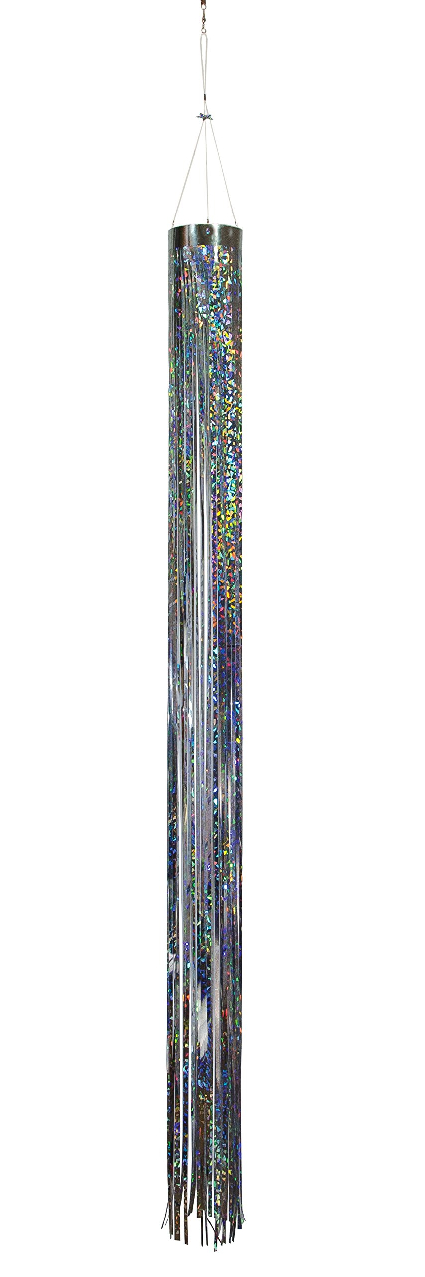 In the Breeze Silver Holographic Mylar Windsock Hanging Decoration - Decorative and Humane Bird and Pest Deterrent