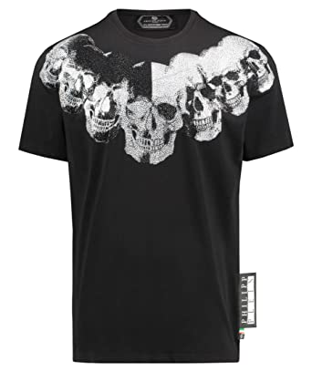 bdcbb77d64 Philipp Plein Men's Platinum Cut Black T-Shirt with Rhinestones | Amazon.com
