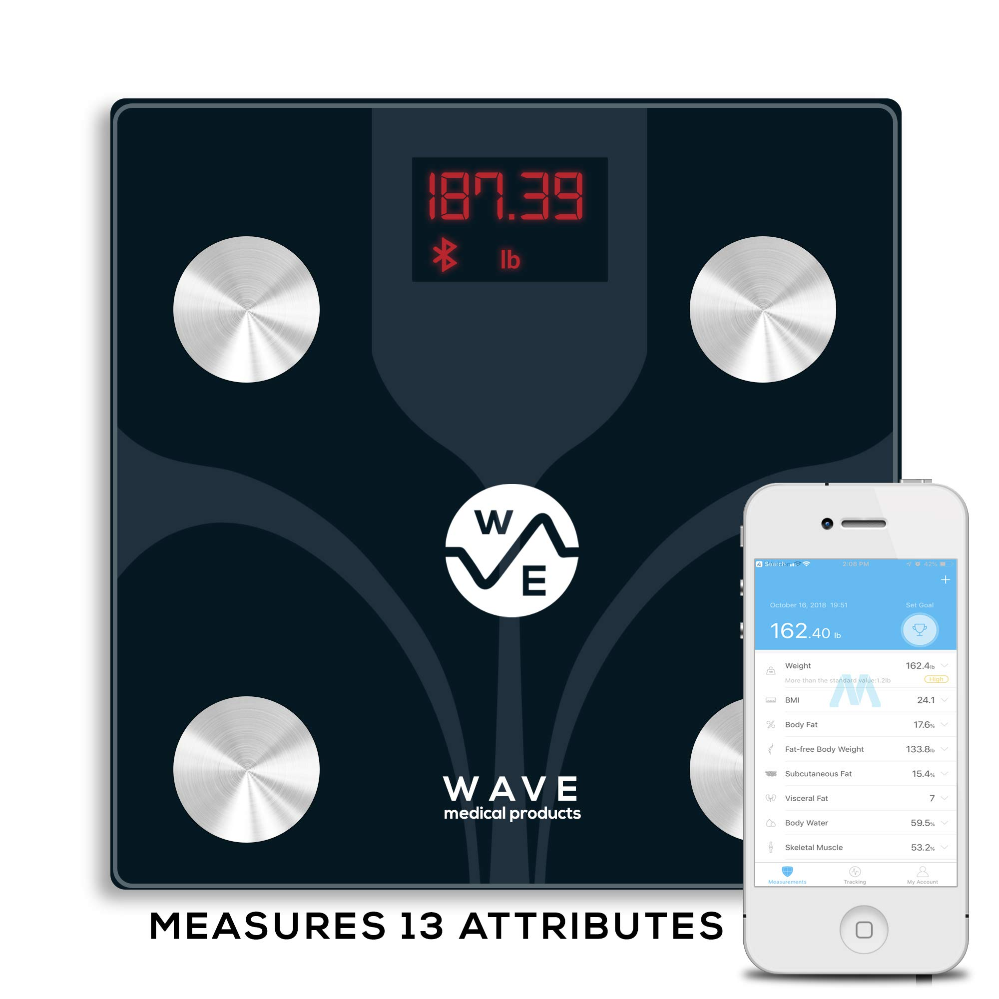 WAVE Bluetooth Body Fat Scale, Smart BMI Digital Wireless Bathroom Weight Scale - Tracks 13 Composition Metrics incl. BMI - For Android & iOS - Syncs with Fitbit & More - Best Bathroom Digital Scales