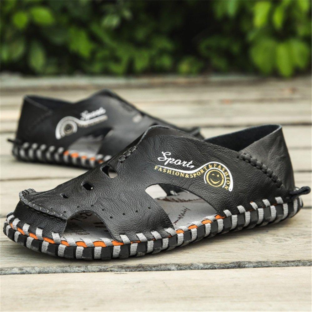 Sandale Männer Outdoor Sport Rindsleder Hohl Breath schwarz Größe Sandalen (Farbe : Schwarz, Größe schwarz : 42 2/3 EU) Schwarz 8a3018