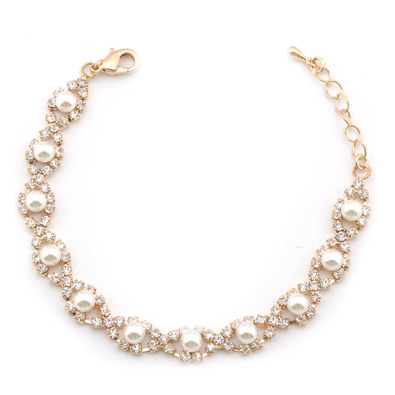 Topwholesalejewel Wedding Bracelet Gold Plating Faux Pearl Link Bracelet 15006-200