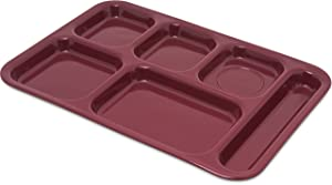 Carlisle 4398885 Right Hand 6-Compartment Cafeteria/Fast Food Tray, 14.5
