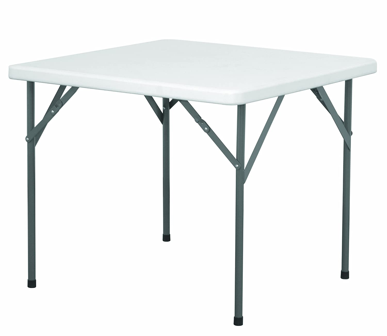 EAZYGOODS Heavy Duty Plastic Square Folding Legs Table, White, 88 x 88 x 73 cm Eazy Goods Ltd