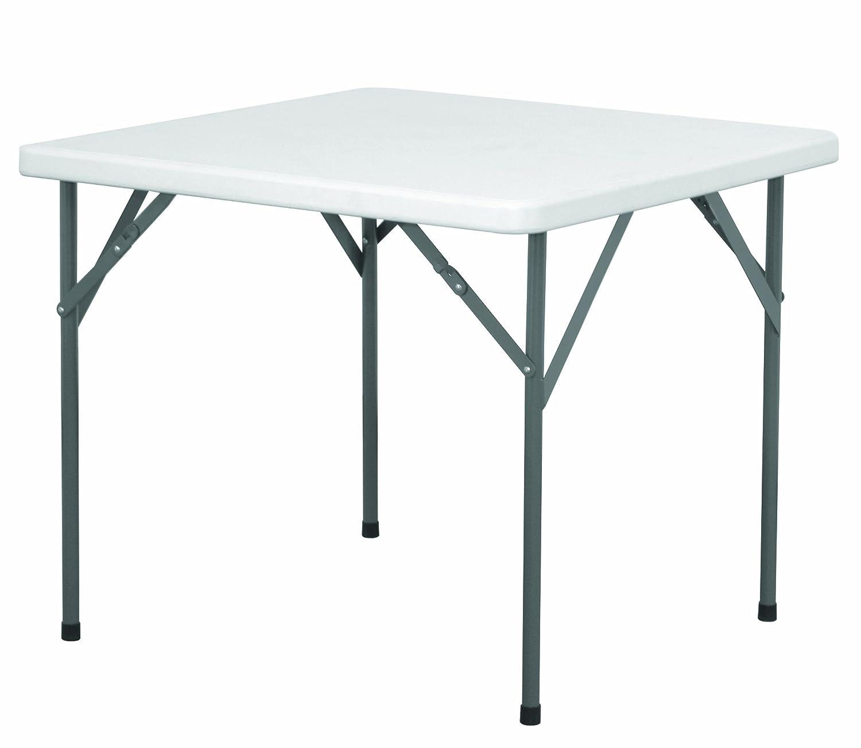 EAZYGOODS Heavy Duty Plastic Square Folding Legs Table, White, 88 x 88 x 73 cm Eazy Goods Ltd