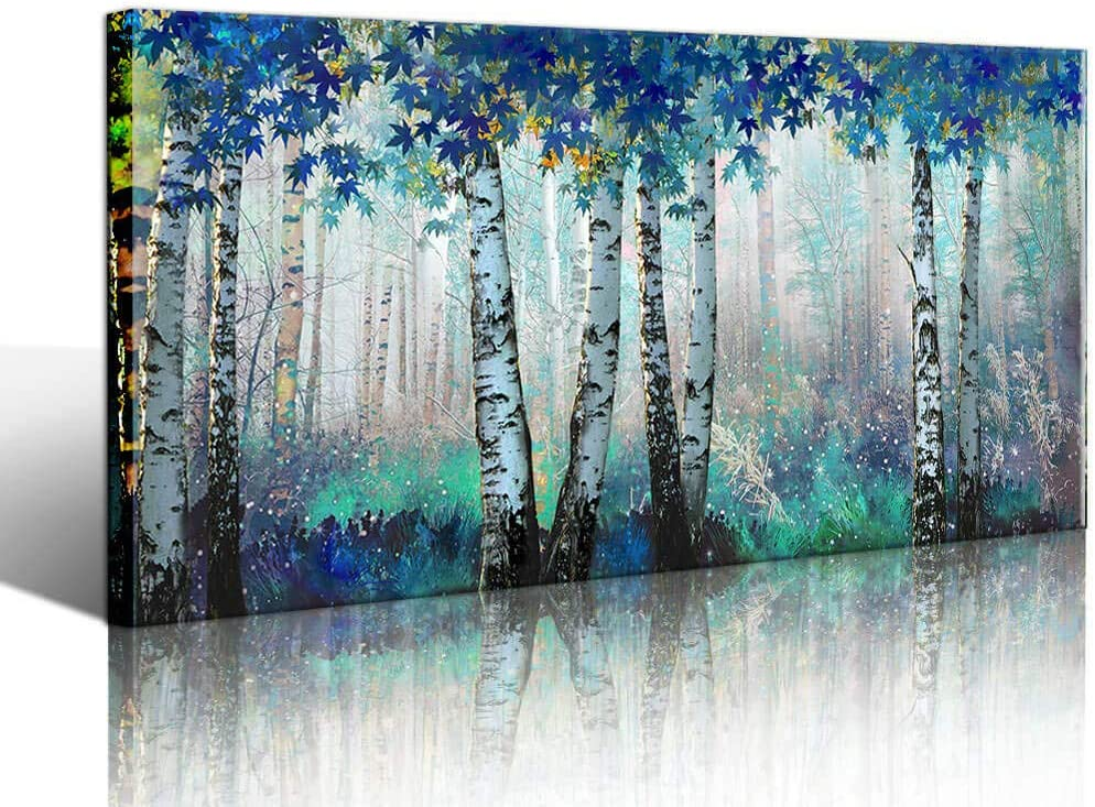 Large White Birch Forest Wall Art Decor Canvas Picture Print Blue Green Tree Blue Maple Leaf Plant Living Room Bedroom Bathroom Office Modern Framed Artwork Home Kitchen Decoration