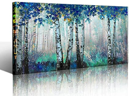 Yiijeah White Birch Forest Wall Art Decor Canvas Picture Print Blue Green  Tree Blue Maple Leaf Plant Living Room Bedroom Bathroom Office Modern  Framed