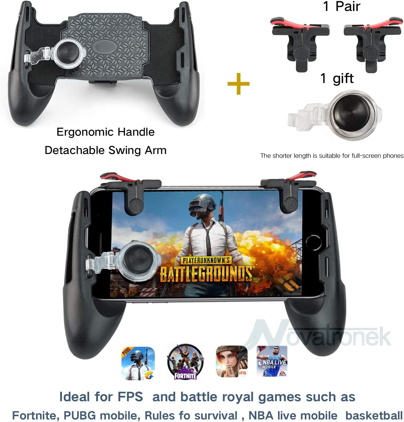 Mobile Gaming Game Pad Joystick Handle Trigger Controller w//Shooter for PUBG