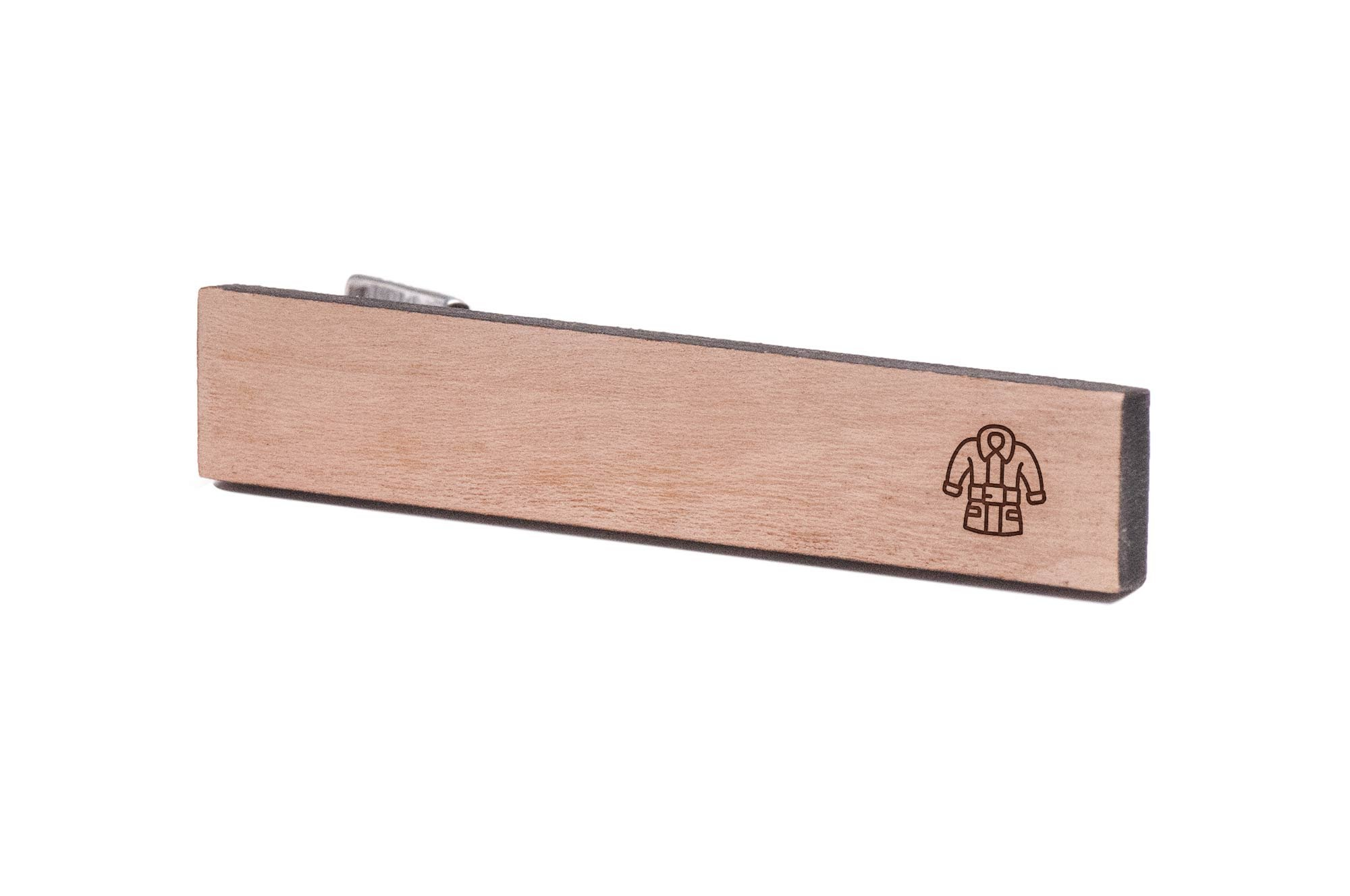 WOODEN ACCESSORIES COMPANY Wooden Tie Clips With Laser Engraved Santas Jacket Design - Cherry Wood Tie Bar Engraved In The USA