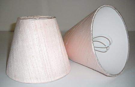 6 Pantalla para lámpara de mesa hecha a mano pequeña -Seda Rosa Blush: Amazon.es: Hogar