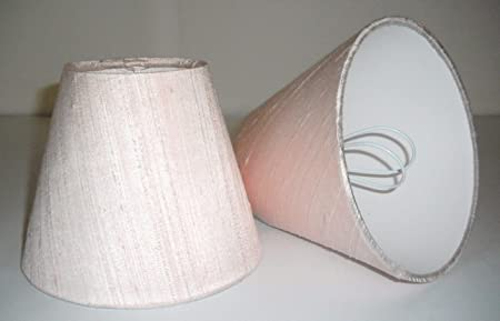 6 Pantalla para lámpara de mesa hecha a mano pequeña -Seda Rosa ...