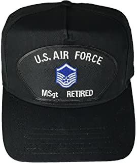 c4e28049 US AIR FORCE MASTER SERGEANT MSgt RETIRED with INSIGNIA PATCH HAT - Black -  Veteran Owned
