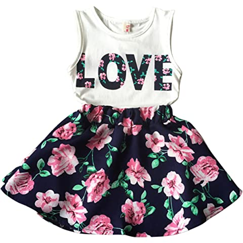 a88c7b90c Jastore Girls Letter Love Flower Clothing Sets Top+Short Skirt Kids Clothes