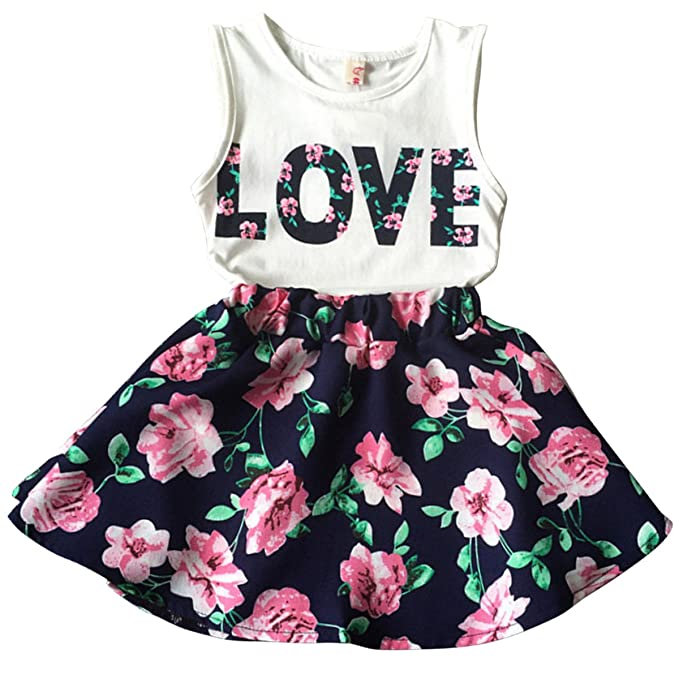 41966c70988b Amazon.com  Jastore Girls Letter Love Flower Clothing Sets Top+Short Skirt Kids  Clothes  Clothing