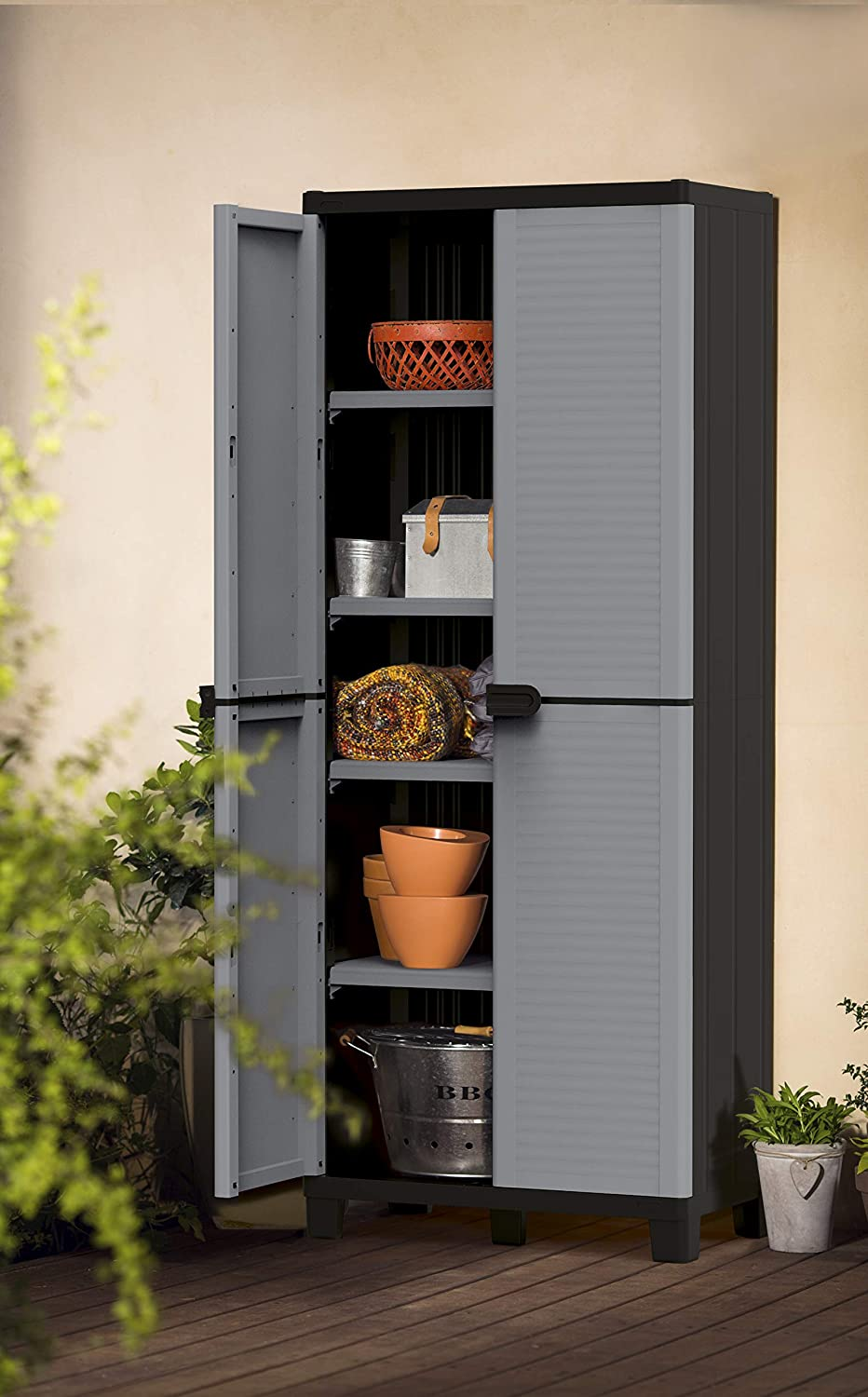 KETER Storage Cabinet with Doors and Shelves - Perfect for Garage and Basement Organization, Grey: Furniture & Decor