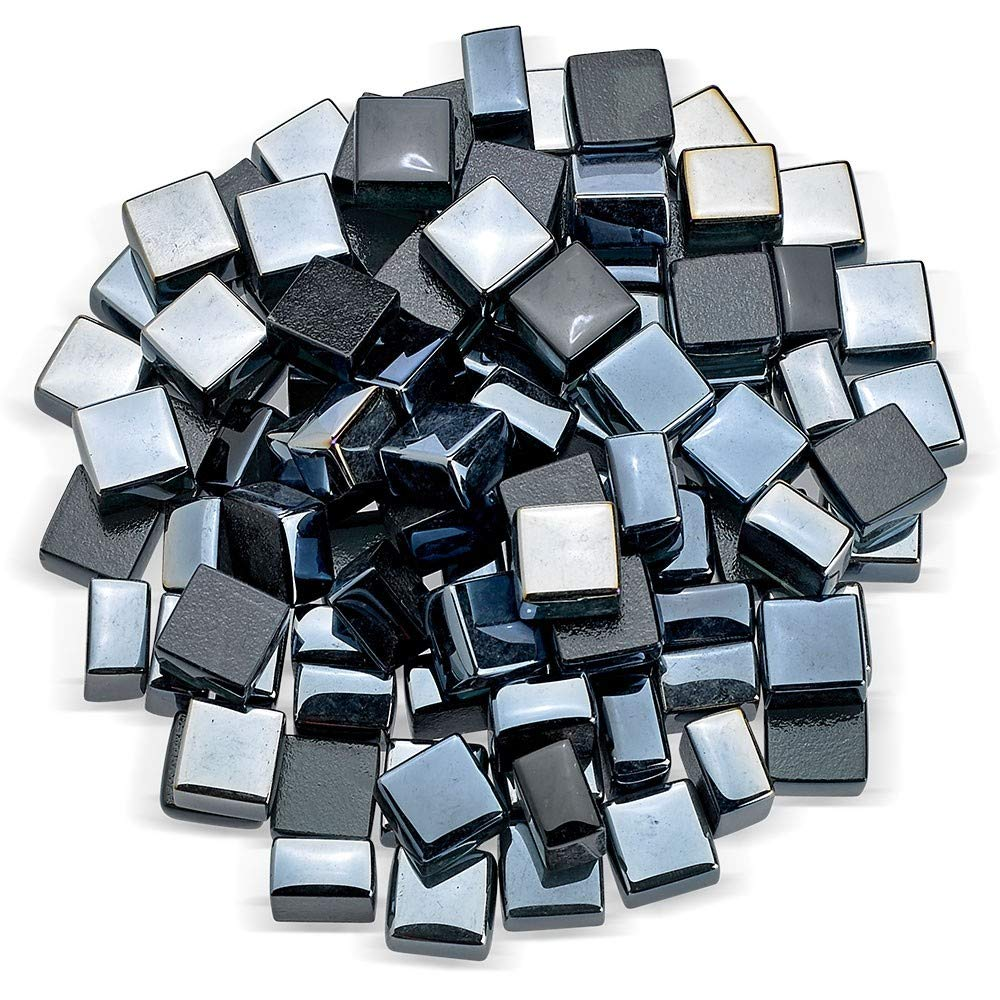 American Fireglass 1/2' Square Modern Shaped Fire Glass Luster Finish Fire Pits Fireplaces Indoors Outdoors. 10lbs Bag