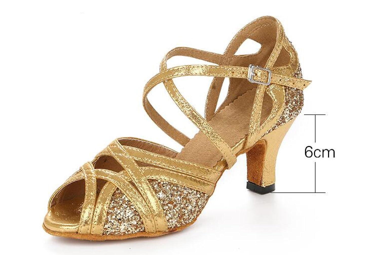 Orheeled7.5cm Jchaussures Femmes Paillettes Paillettes Ballroom Latin Dance Chaussures Salsa   Tango   Thé   Samba   Moderne   Jazz Chaussures Sandales Talons Hauts,orheeled6cm-UK4 EU35 Our36 UK3.5 EU34 Our35
