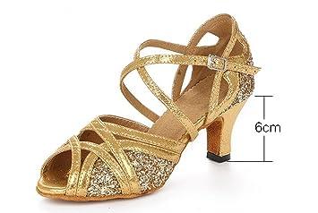 JSHOE Damen Tanzschuhe Latin Salsa/Tango/Tee/Samba/Modern/Jazz Schuhe Sandalen High Heels,Gold-heeled7.5cm-UK4.5/EU36/Our37