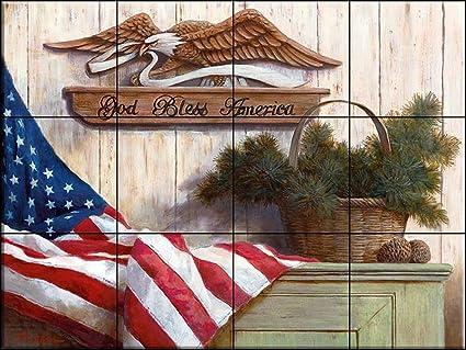 Murale di piastrelle di ceramica god bless america tc da t.c.