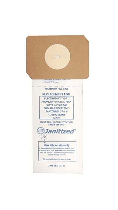 Janitized JAN-ELU-2(10) Paper Premium Replacement Commercial Vacuum Bag, for Electrolux U, Sanitaire UP, ProTeam Prolux, Proforce 1200XP, 1500 & 1500XP, Pullman Holt UV-3 vacuums (10-10 Packs)