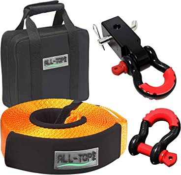 3//4 D Ring Shackles ATV Tow Rope 20 ft x 3 in Truck motormic Tow Strap Recovery Kit Heavy Duty Straps for Winch Off Road Vehicle Towing + Storage Bag Car 30,000 lbs. 2pcs.