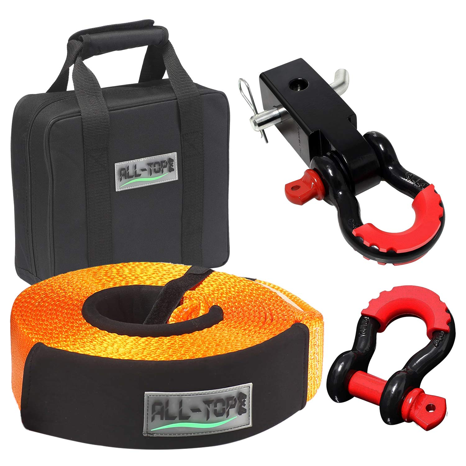 ALL-TOP 4x4 Recovery Gear Kit with Hitch Receiver: 3 inch x 30 ft (32,000 lbs) 100% Nylon Snatch Strap + 2'' Aluminium Shackle Hitch Receiver + 3/4 Heavy Duty D Ring Shackles (2pcs) +Storage Bag