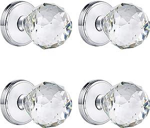 CLCTK Glass Dummy Door Knobs Interior, Inactive Crystal Half-Dummy Door Knobs for Closet, Polished Chrome (4 Pack)